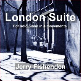 Cover image from London Suite, for solo piano in 4 movements by Jerry Fishenden. The image shows a shadowy and atmospheric, historic courtyard.